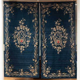 Group of Four Flatweave Curtain Panels