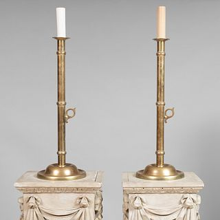 Pair of Tall Brass Candlesticks Mounted as Lamps