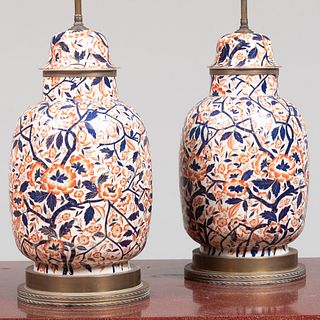 Pair of Imari Style Porcelain Jars and Covers Mounted as Lamps