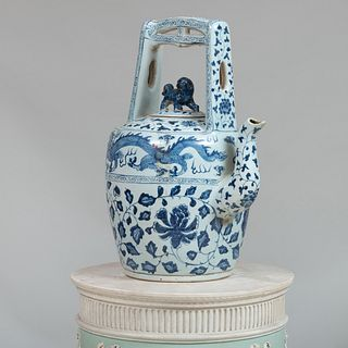 Large Chinese Blue and White Porcelain Teapot