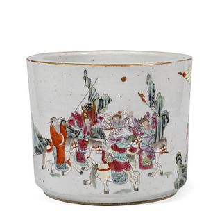 Qing Dyn. Famille Rose 'Figural' Porcelain Brush Pot