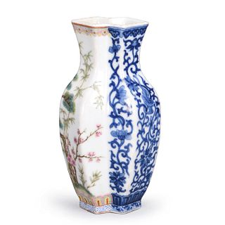 Famille Rose Blue and White Conjoined Porcelain Vase