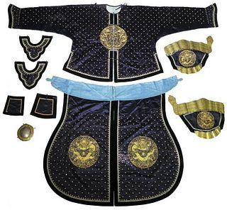 Qing Dyn. Chinese Manchu Silk Armor Robe Set