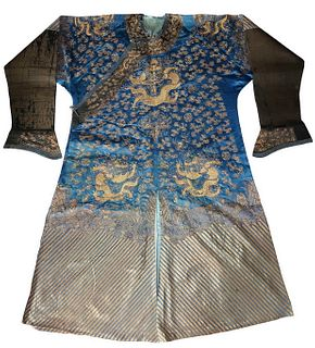Chinese Gold Thread 9 Dragon Silk Robe,18/19th C