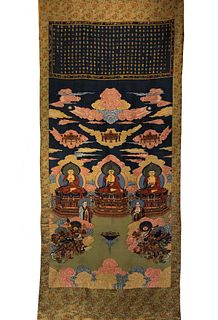 A Silk Kesi 'Three Buddha' Inscribed Thangka