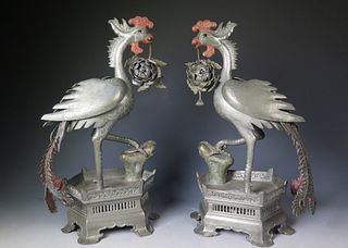 Pair Of Chinese Export Polychromed Pewter Phoenix