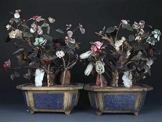 Delicate Pair of Gilt Bronze Jardinieres W/ Jade&Amber