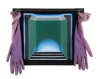 Roger Brown (American, 1941-1997) Untitled (Stepped Stage with Velvet Glove Curtains), c. 1970