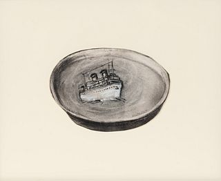 William Kentridge (South African, b. 1955) Untitled (Boat/Plate)