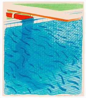 David Hockney (British, b. 1937) Pool Made with Paper and Blue Ink for Book, 1980
