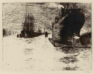 Emil Nolde (German, 1867-1956) Hamburg, Reiherstiegdock (Hamburg Dry Dock), 1910