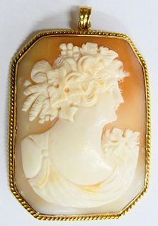 LARGE 14KT Y GOLD AND SHELL ANTIQUE CAMEO PENDANT