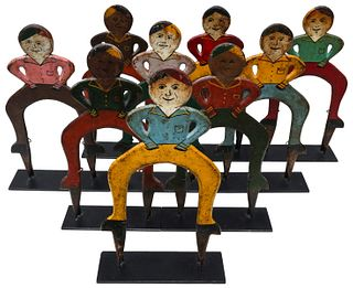 A CHEERY SET OF FIGURAL IRON CROQUET WICKETS CIRCA 1920