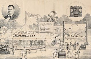 AN 1890s ADVERTISING POSTER FOR C.W. PARKER AMUSEMENT