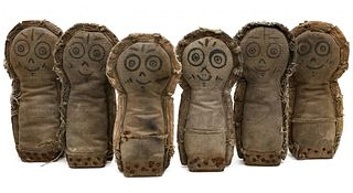 A SET OF SIX MATCHING CARNIVAL KNOCKDOWN DOLLS C. 1930