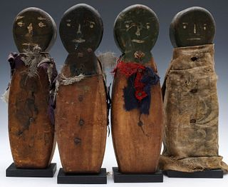 CARVED AND PAINTED FOLK ART SPINNER KNOCKDOWN DOLLS