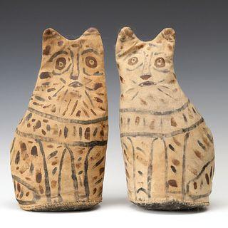 PAINTED FOLK ART CAT KNOCKDOWN TARGETS SIGNED AKART