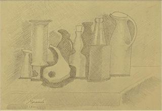 """attributed to: Giorgio Morandi, Italian (1890-1964) Pencil on Paper """"Still Life""""."""