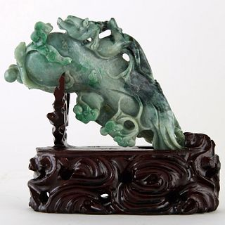 Large 20th c. Chinese Green Jade Carving Eggplant/Buddhas Hand