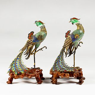 Pair of Chinese Enameled Silver Phoenix Birds