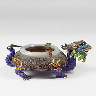 20th c. Chinese Silver Enameled Silver & Jade Dragon Ashtray