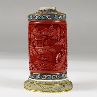 20th c. Chinese Cinnabar Enamel & Jade Tea Caddy