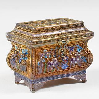 20th c. Chinese Export Gilt Silver Enamel Filigree Box
