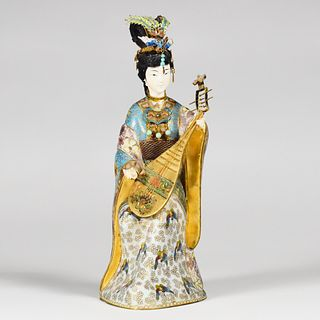 20th c. Chinese Cloisonne Woman w/ Instrument