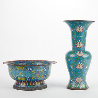 20th c. Chinese Cloisonne Bowl & Vase