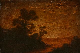 Attributed to Ralph Blakelock Twilight Landscape Oil on Board