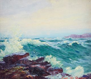 Carl Rawson Waves Crashing on Rocks Oil on Board