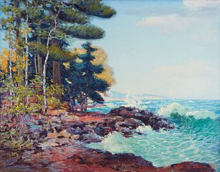 Carl Rawson Lake Superior with Trees Oil on Board