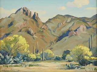 "Mildred Arline Young Pneuman ""Catalina Mountains Tucson Arizona"" Oil on Board"
