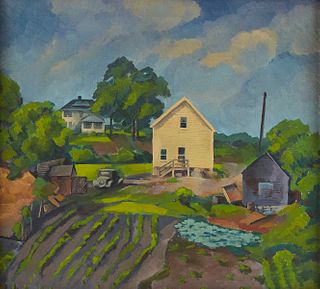 Regionalist Painting of Farmhouse Oil on Canvas