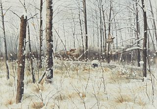 Noel L. Dunn Pheasant Flying Winter Landscape Watercolor