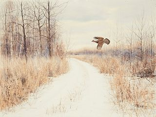 Noel L. Dunn Pheasant Flying Winter Landscape Watercolor on Paper Board