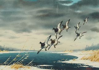 Les Kouba Flying Ducks Watercolor