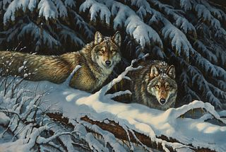 Rosemary Millette Wolves in Winter Original Painting