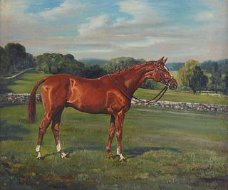 "Franklin Brooke Voss ""Ulic"" Portrait of Thoroughbred Oil on Canvas"