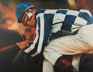 "Terrence Fogarty ""Jockey I"" Oil on Canvas"