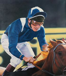 "Terrence Fogarty ""Jockey II"" Oil on Canvas"
