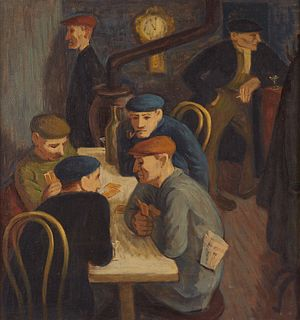 WPA Era Men in Bar Painting Oil on Board