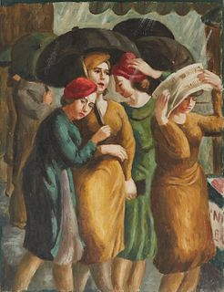 WPA Era Painting Women in the Rain Oil on Canvas