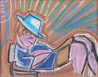 Dan Lebewitz Purple Man in Blue Hat Pastel on Paper