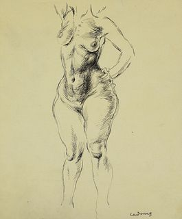Paul Cadmus Standing Female Nude Ink on Paper