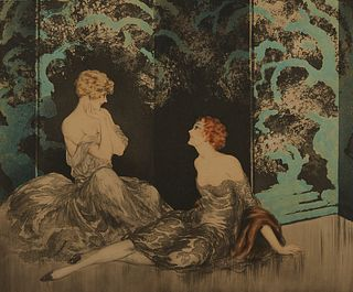 "Louis Icart ""Intimacy"" Etching"
