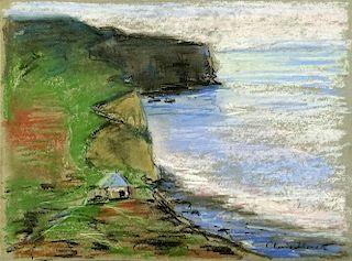 after: Claude Monet, French (1840-1926) pastel on paper, coastal landscape.