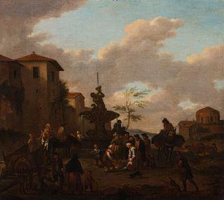 Pittore bambocciante, secolo XVII - Genre scene with the Triton fountain