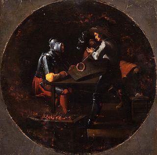 Scuola fiamminga, secolo XVII - Tavern scene