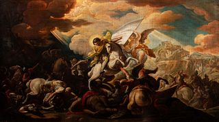 Scuola romana, secolo XVIII - The Battle of Ponte Milvio